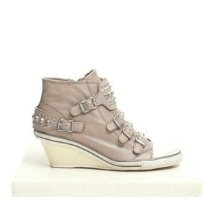 Ash Taupe Studded Wedge Sneakers
